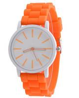 Женские часы GENEVA Женева с белым циферблатом, силиконовый браслет (оранжевые), часы на руку женские