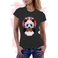 Женская черная футболка с рисунком PANDA