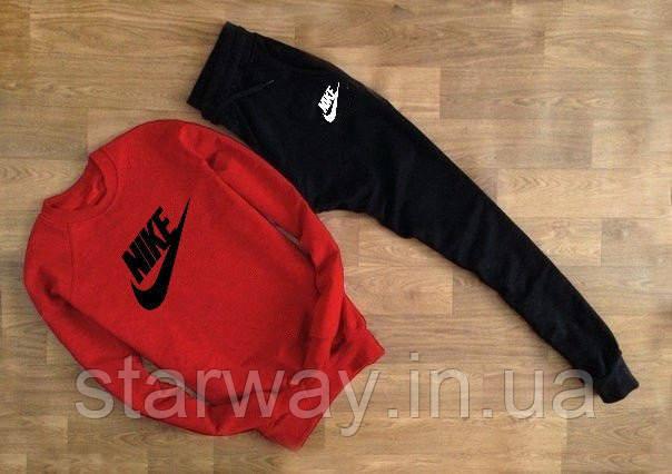 Cпортивный трикотажный костюм Nike топ | красный верх черный низ