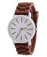 Женские часы GENEVA Женева с белым циферблатом, силиконовый браслет (коричневый), часы женские на ремешке