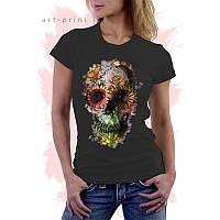 Женская черная футболка с рисунком SKULL FLOWERS