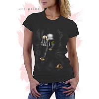 Женская черная футболка с рисунком GIRL GOLD