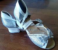 Туфли танцевальные для девочки на блок-каблуке  белая кожа+парча серебро эксклюзив