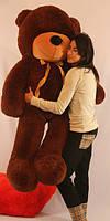 Большой темно шоколадный плюшевый мишка 160 см