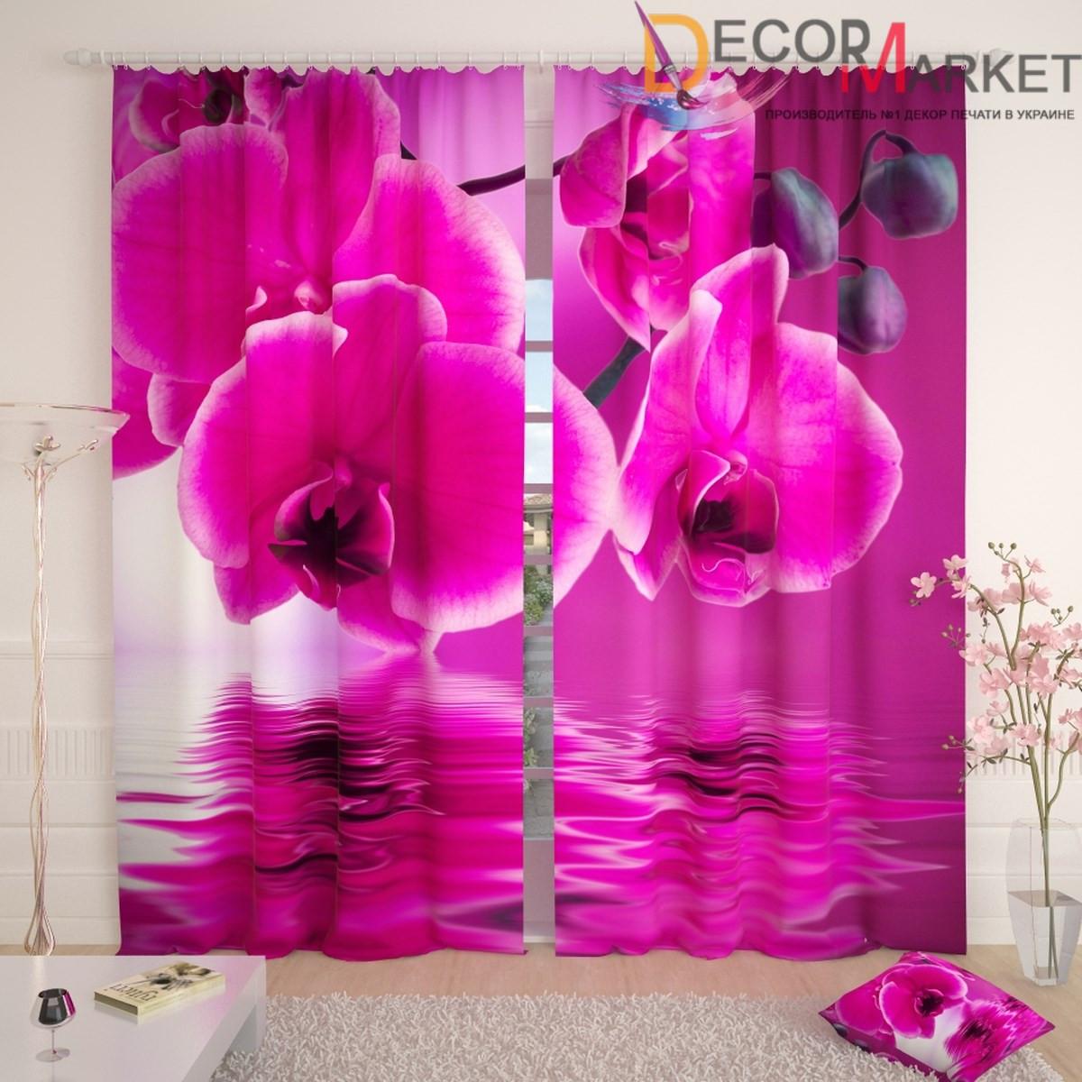 Фотошторы фиолетовая орхидея над водой