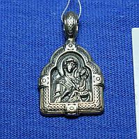 Нательная иконка из серебра Тихвинской Божией Матери Л-9