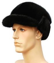 Мужская черная норковая шапка конфедератка