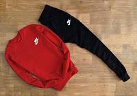 Cпортивный трикотажный костюм Nike small logo | красный верх черный низ