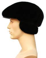 Мужская мягкая кепка из натуральной норки цвет черный