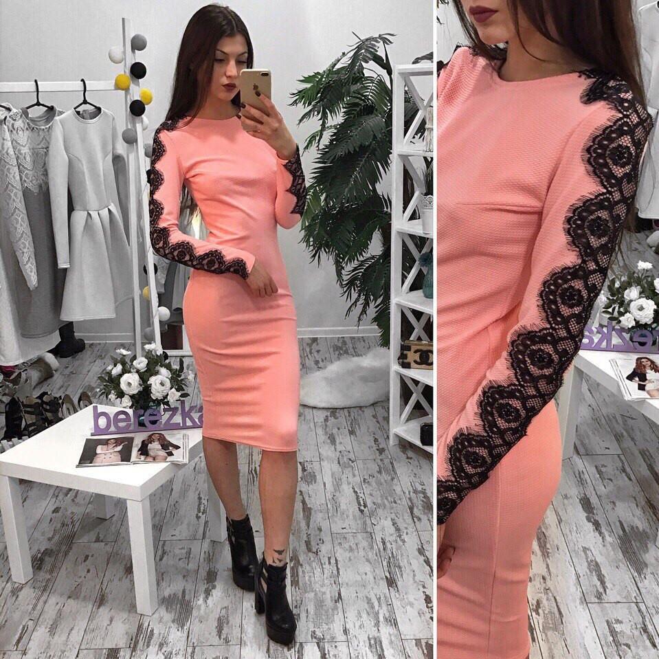 Платье облегающее миди с кружевом трикотаж кукуруза разные цвета SMb1112 255bd084be5