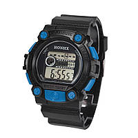 Спортивные часы с секундомером, будильником и неоновой подсветкой (∅45 мм) Honhx-Shok Blue