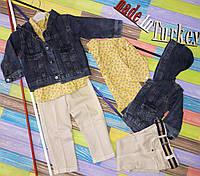 Костюм   для мальчика с джинс курточка+рубашка+джинсы размер 80