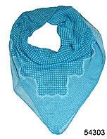 Платок шифоновый в горошек голубой, фото 1