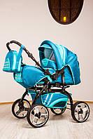 Прогулочная с люлькой коляска Trans Baby Rover светлобирюзовый-темнобирюзовый