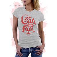 Сіра жіноча футболка з малюнком CAT 2, фото 1