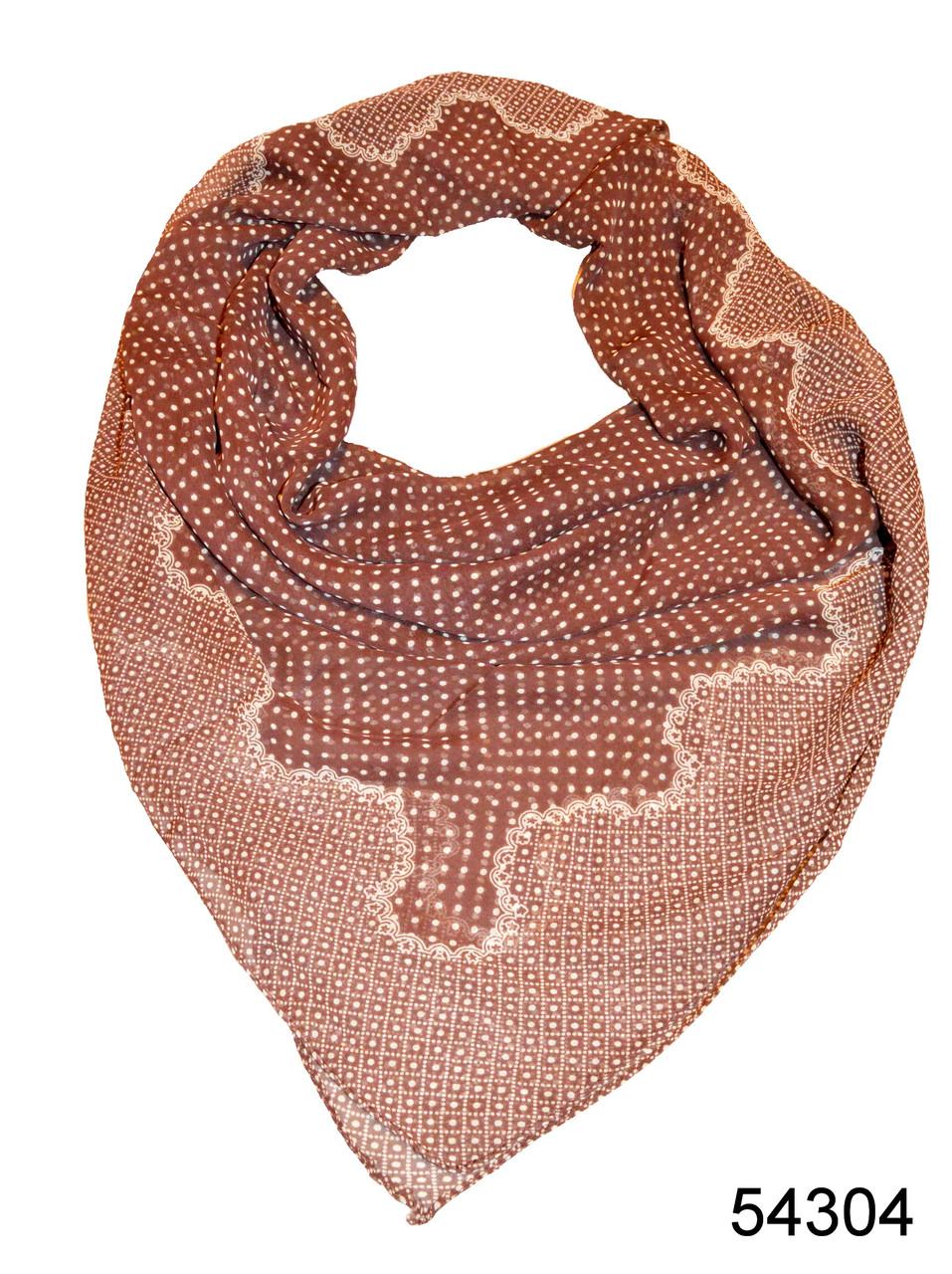 Платок шифоновый в горошек коричневый