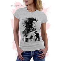 Женская серая футболка с рисунком LADY