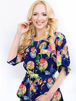 Блуза женская 2062 принт шелк