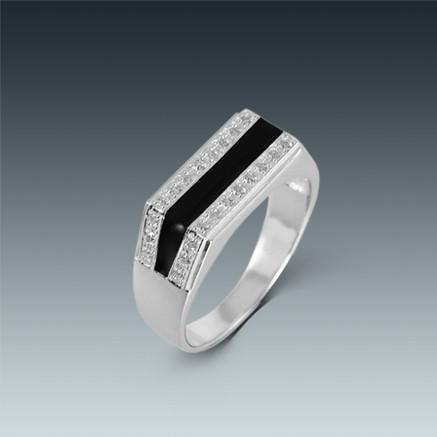 Мужское кольцо печатка - серебро с эмалью