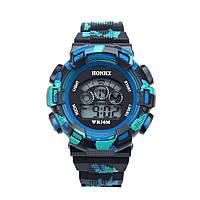 Спортивные часы с секундомером, будильником и неоновой подсветкой (∅45 мм) Rambo Blue