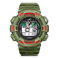 Спортивные часы с секундомером, будильником и неоновой подсветкой (∅45 мм) NT-Ranger Army Green