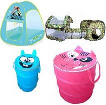 Палатки, корзины для игрушек, качели