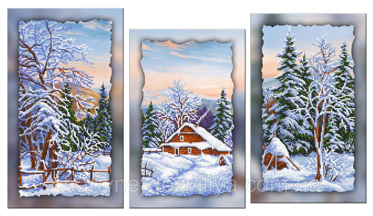 """Схема-триптих для вышивки бисером на подрамнике (модульная картина) """"Зимний пейзаж"""""""