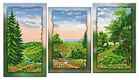 """Схема-триптих для вышивки бисером на подрамнике (модульная картина) """"Весенний пейзаж"""""""