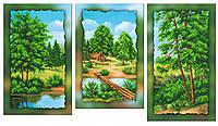 """Схема-триптих для вышивки бисером на подрамнике (модульная картина) """"Летний пейзаж"""""""
