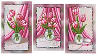 """Схема-триптих для вышивки бисером на подрамнике (модульная картина) """"Прекрасные тюльпаны"""""""