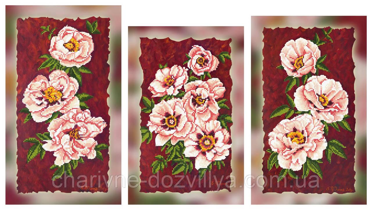 """Схема-триптих для вышивки бисером на подрамнике (модульная картина) """"Прекрасные розы"""""""
