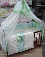 Постельное белье в кроватку для новорожденных «BONNA LUX» салатовое