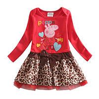 Платье c свинкой  Пеппой с леопардовой юбкой