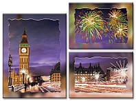 """Схема-триптих для вышивки бисером на подрамнике (модульная картина) """"Лондон"""""""