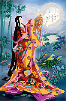 """Схема для вышивки бисером на атласе """"Гейша и луна"""". Художник Haruyo Morita"""