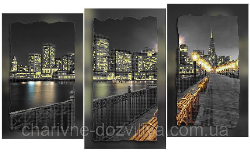 """Схема-триптих для вишивки бісером на підрамнику (модульна картина) """"Нічне місто"""""""
