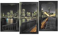 """Схема-триптих для вышивки бисером на подрамнике (модульная картина) """"Ночной город"""""""