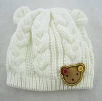 Детская шапка вязаная для новорожденной Китай 0-6 мес