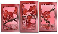 """Схема-триптих для вышивки бисером на подрамнике (модульная картина) """"Красная орхидея"""""""
