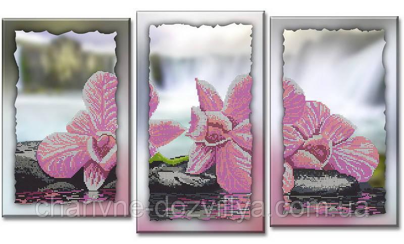 """Схема-триптих для вышивки бисером на подрамнике (модульная картина) """"Розовая орхидея"""""""