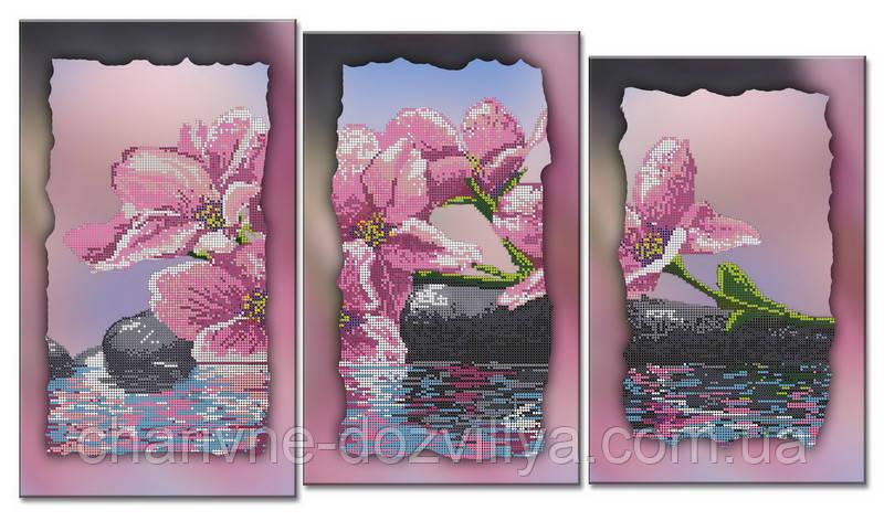 """Схема-триптих для вышивки бисером на подрамнике (модульная картина) """"Прекрасная орхидея"""""""