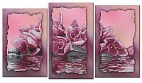 """Схема-триптих для вышивки бисером на подрамнике (модульная картина) """"Розовая магнолия"""""""