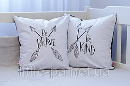 Детская подушка из натуральных материалов «Ве Brave»