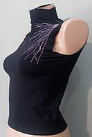 Стильний жіночий гольф безрукавка футболка чорний літній євро S - M, наш 46