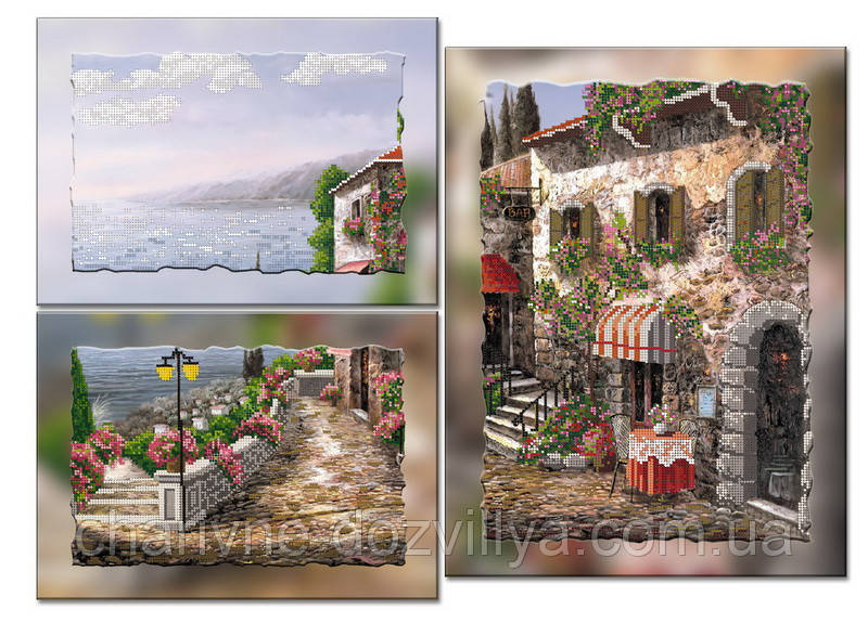 """Схема-триптих для вышивки бисером на подрамнике (модульная картина) """"Прекрасная Венеция"""""""