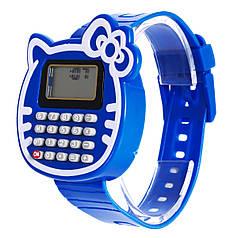 Наручний годинник з калькулятором Калькулятор-Кішка сині