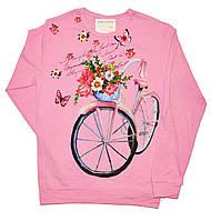 """Батник подростковый """"Велосипед"""" из тонкого трикотажа для девочек. размеры 9-12 лет"""