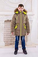 "Зимняя парка для мальчика ""Аляска"" (хаки-лайм)"