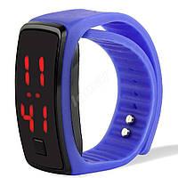 Электронные LED часы браслет Синие