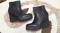 Черные демисезонные женские ботиночки на танкетке 36 37 38р.